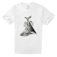 鲸鱼舒适白色T恤