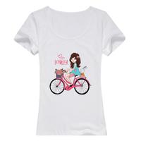 单车少女母版-女款纯棉白色T恤