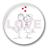 情侣简笔画 love 爱情纪念礼物-卡通小人钥匙扣