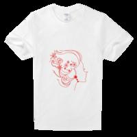抽象美女舒适白色T恤