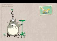 可爱龙猫、木马邮票-复古风-等边留白明信片(横款)套装