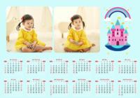 粉色童话城堡-A3章鱼贴横款年历