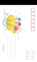 儿童可爱潮流插画彩色童年的美好记忆3-长方留白明信片(竖款)套装