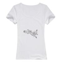 花朵女款纯棉白色T恤