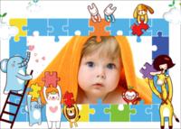 动物乐园宝宝趣味拼图-7寸木版画横款