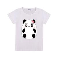 萌萌熊猫童装纯棉白色T恤