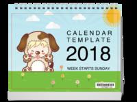 2018可爱简约日历-10寸横款单月双面台历(7页)