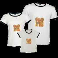 大树爸爸大树妈妈 彩绘几何大树一家人亲子装-时尚撞色亲子装T恤