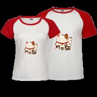 招财猫招财进宝男女夫妇有爱情侣T恤新款爆款-时尚插肩情侣装T恤
