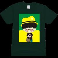 戴帽子的男孩高档彩色t恤