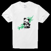 创意 冰箱/国宝熊猫吃竹叶—插画舒适白色T恤