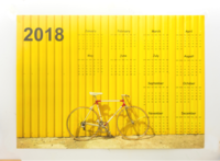 黄色单车墙贴年历