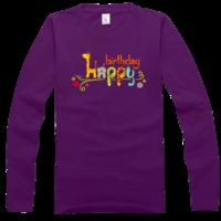 个性 卡通 方形/卡通生日快乐字母高档彩色纯棉长袖T恤