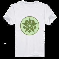 麦田圈图案之五边形与五角星男款纯棉白色T恤