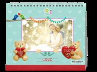 公子轩设计-爱心小熊不仅仅是爱情-宝贝爱人都可用-花纹时尚装饰背景页-多彩色-10寸双面印刷台历