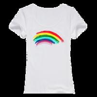 彩虹女款纯棉白色T恤