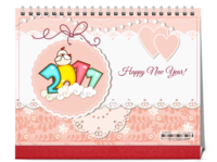 萌系-插画小动物(送宝宝、情侣、闺蜜、全家福、好友)-8寸单面印刷跨年台历