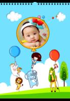 快乐宝贝(亲子 旅行 家庭 幼儿园 卡通小动物)-A3挂历