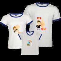 ——宝贝加油——亲子活动家庭装-时尚撞色亲子装T恤