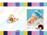 潮流派可爱小萌娃童话世界 时尚宝贝甜心宝宝 卡通动物装饰-硬壳对裱照片书30p