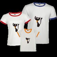 时尚喵喵 猫咪 动物-时尚撞色亲子装T恤