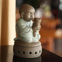 陶瓷香炉许愿小僧 盘香小香炉 创意汝窑茶宠摆件香熏炉