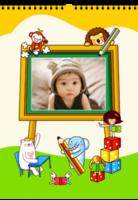我的童话世界七彩童年 精装版卡通小动物装饰 小萌娃宝贝宝宝成长留念-A3双月挂历